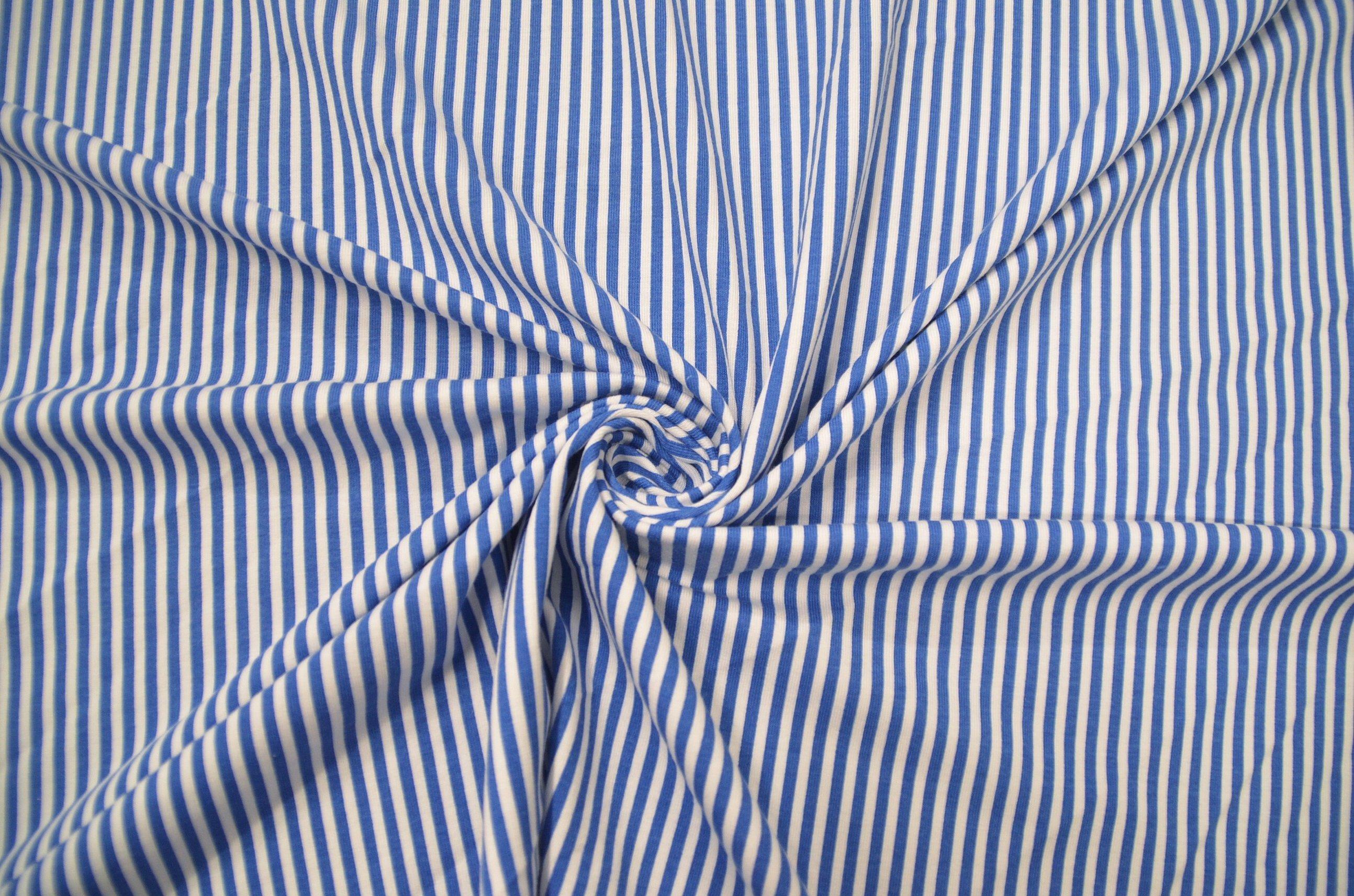 Ткань хлопок италия в полоску голубой