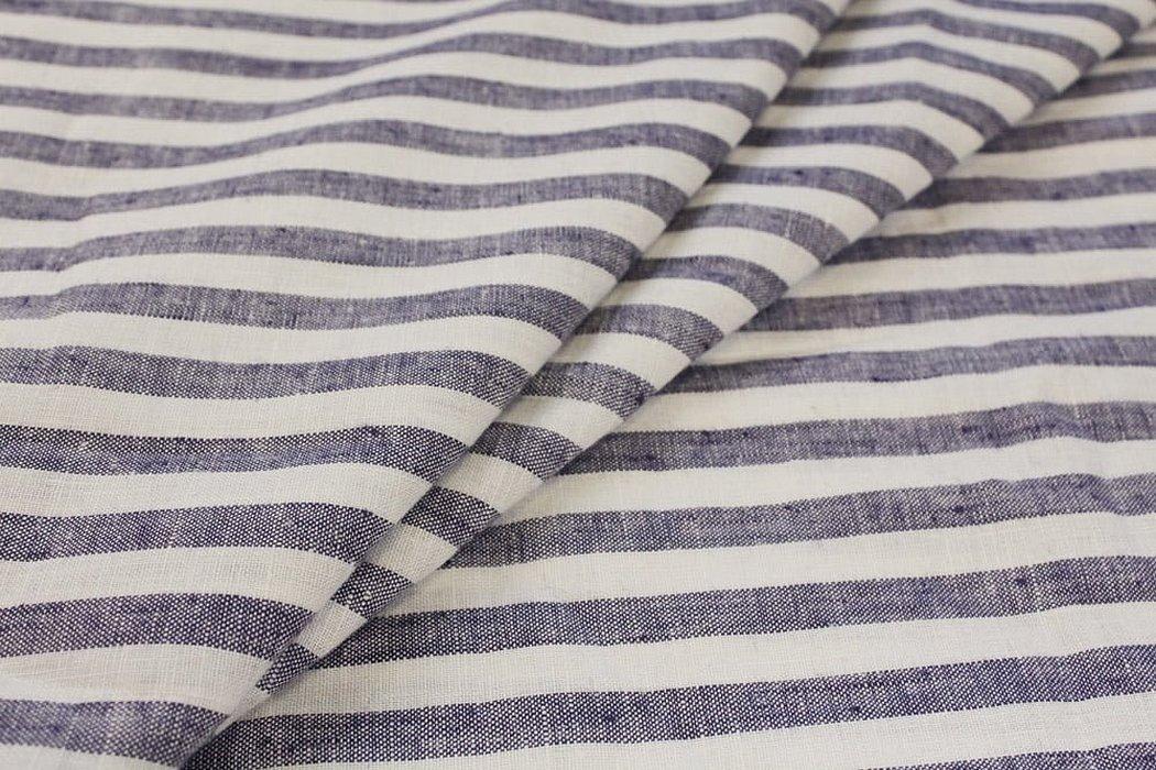 Ткань костюмный лен в полоску
