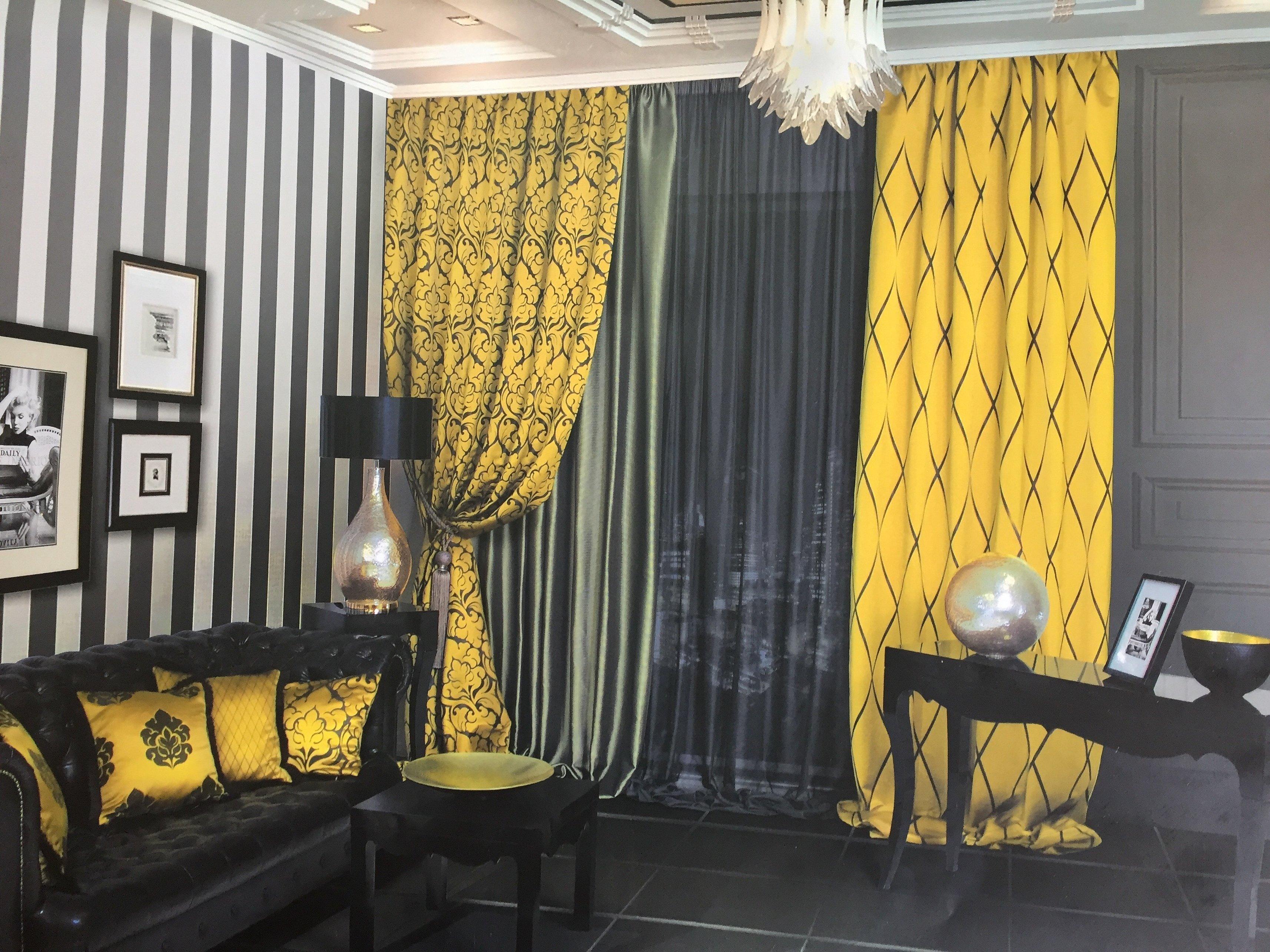 Серо желтые шторы в интерьере