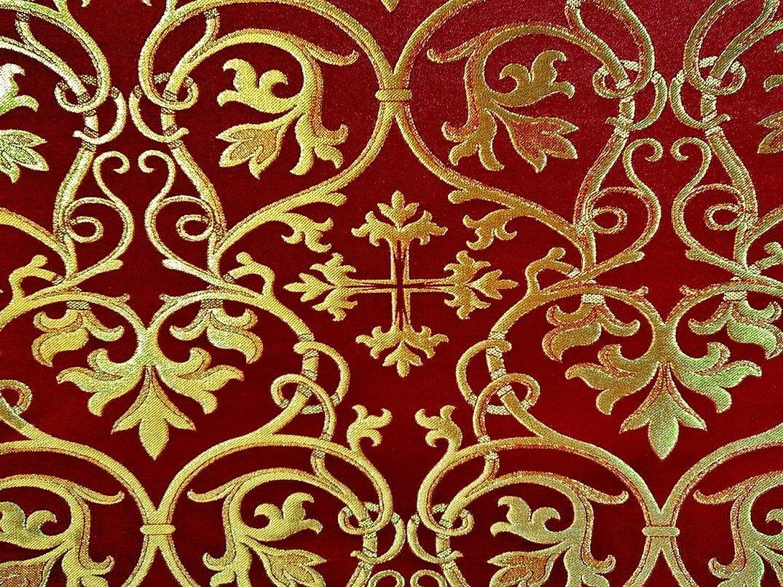 Церковные ткани бордо с золотом