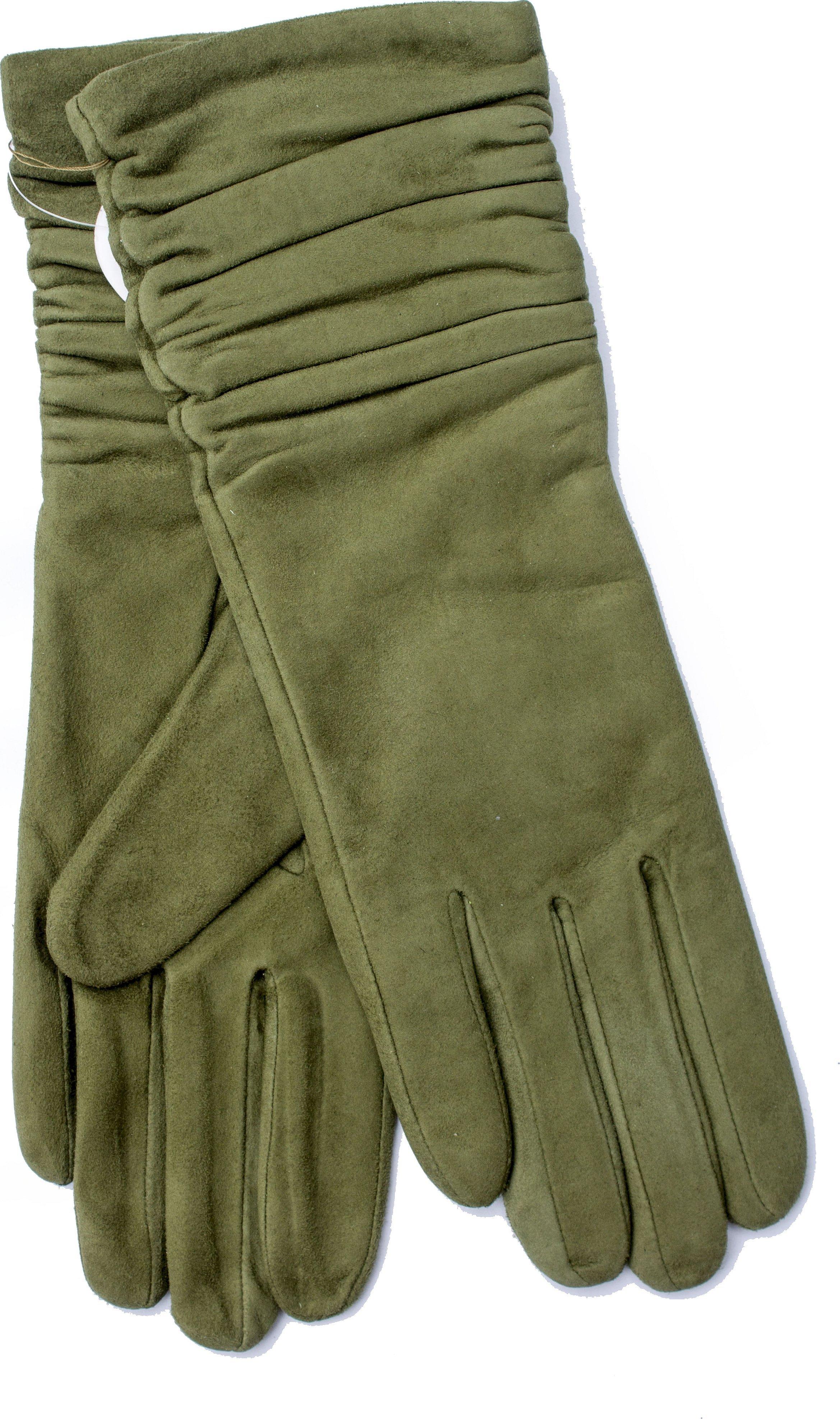 Перчатки удлиненные замшевые