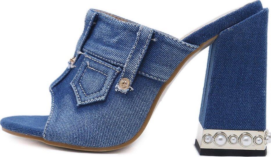Джинсовая обувь женская сабо