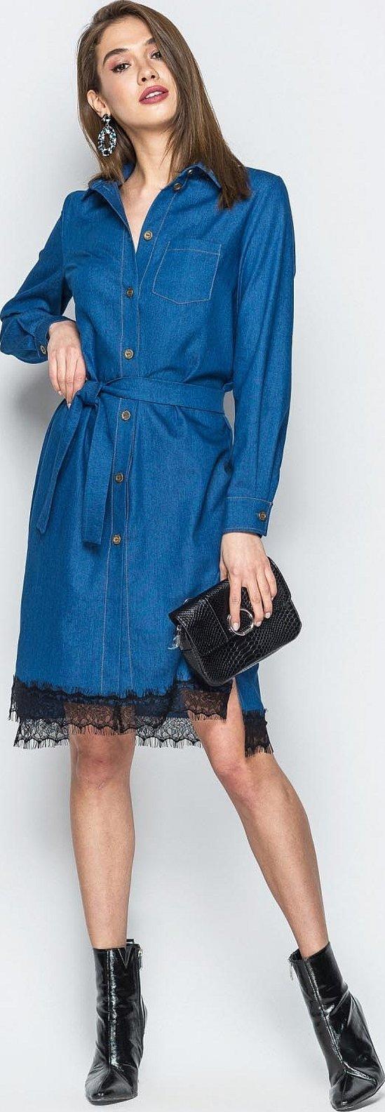 Джинсовое платье рубашка с кружевом