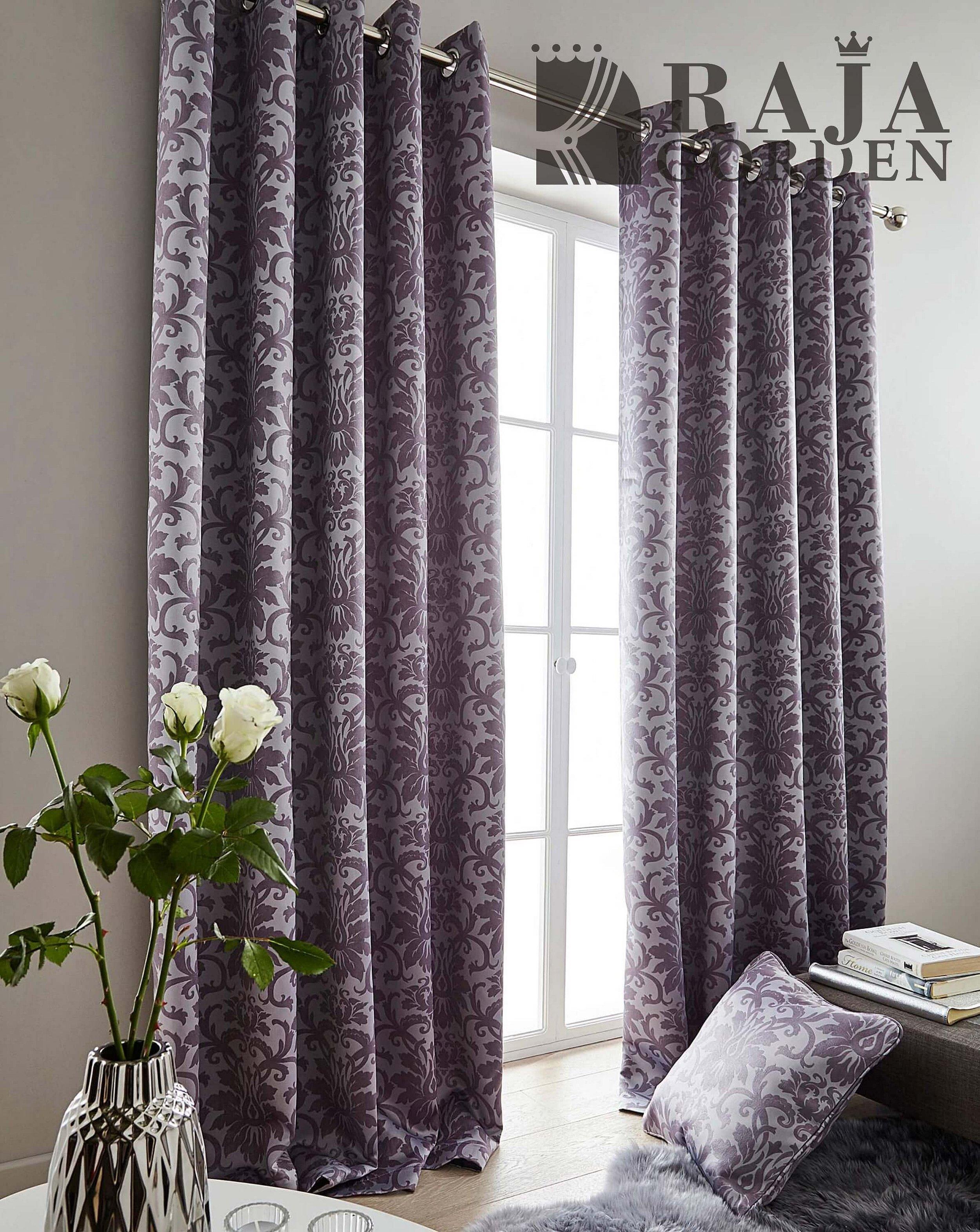 Фиолетовые шторы под вельвет
