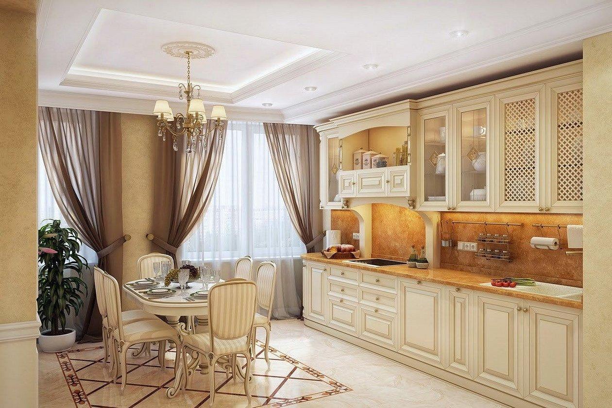 Занавески на кухню в классическом стиле