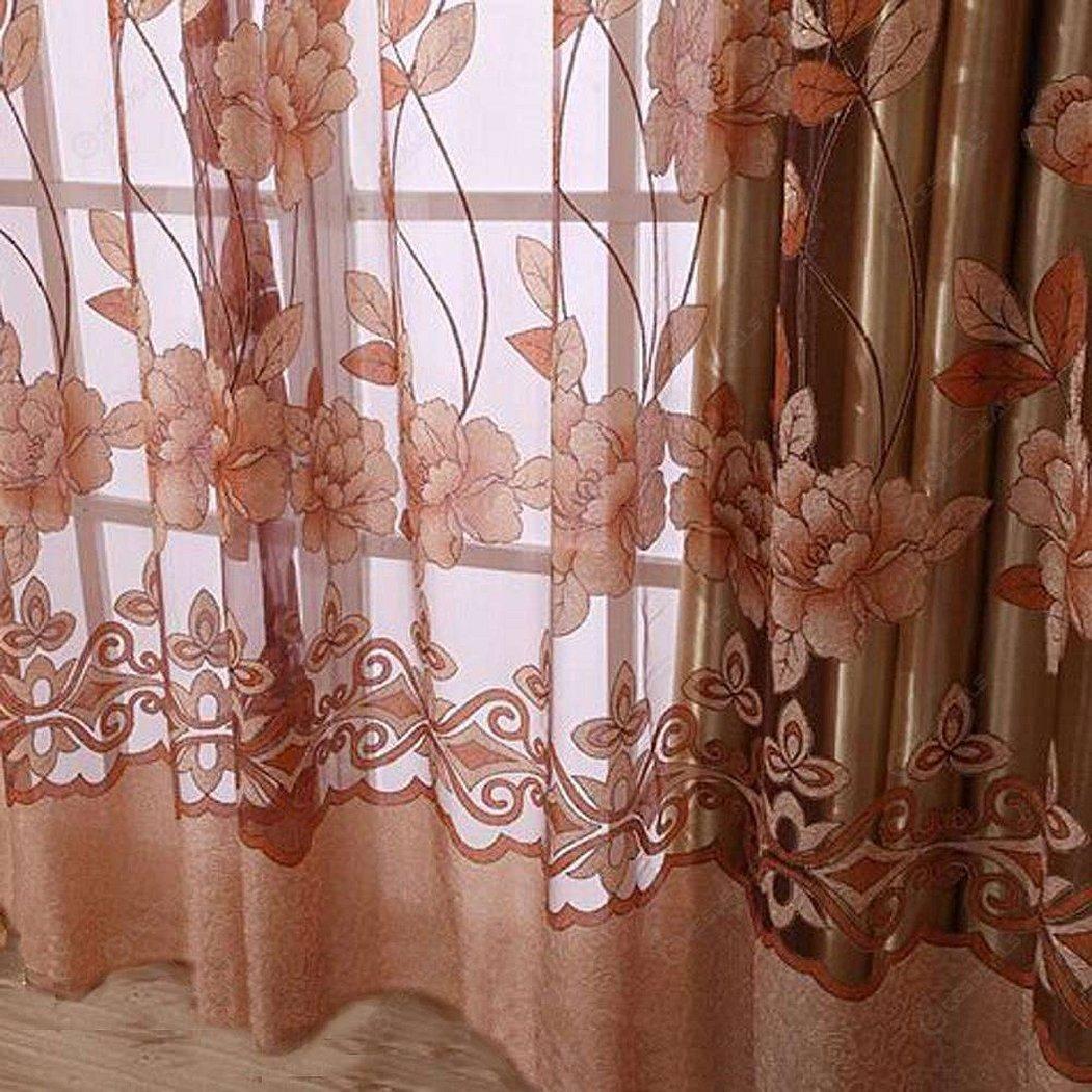 Занавески с цветами тюль