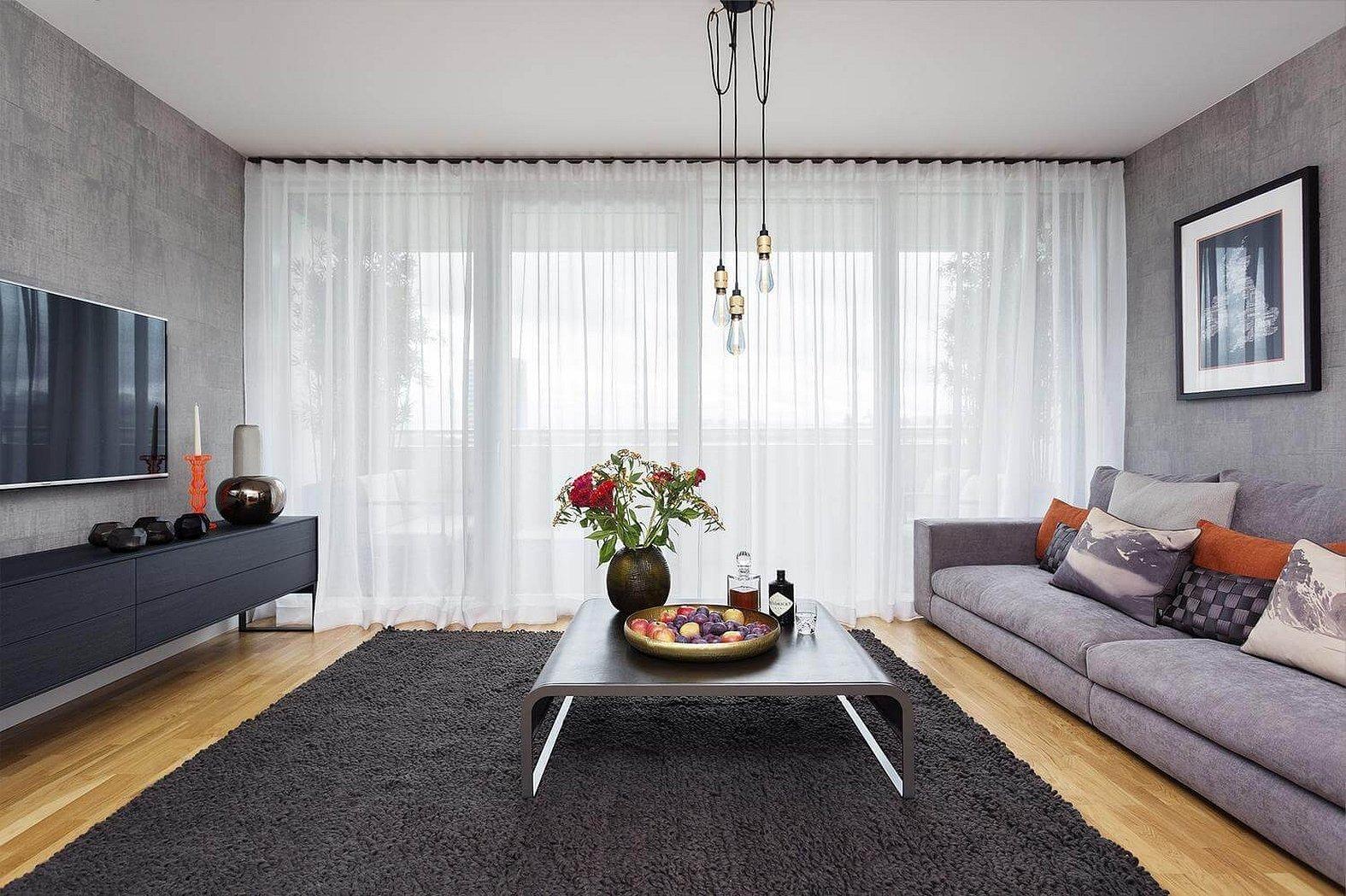 Шторы и тюль для гостиной в скандинавском стиле