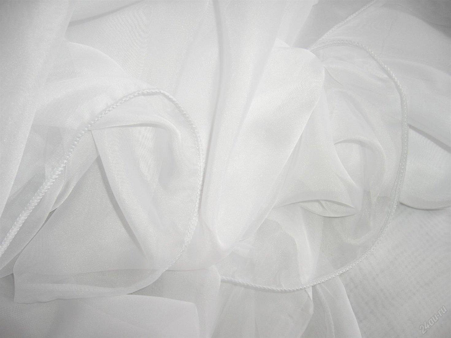 Ткань белая вуаль тюль