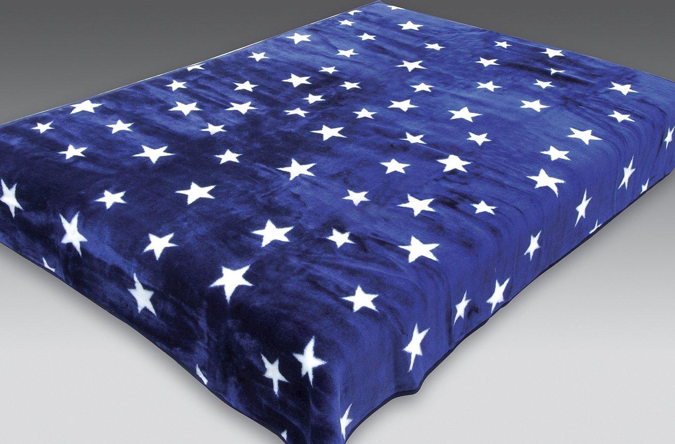 Синий плед с рисунком звезды