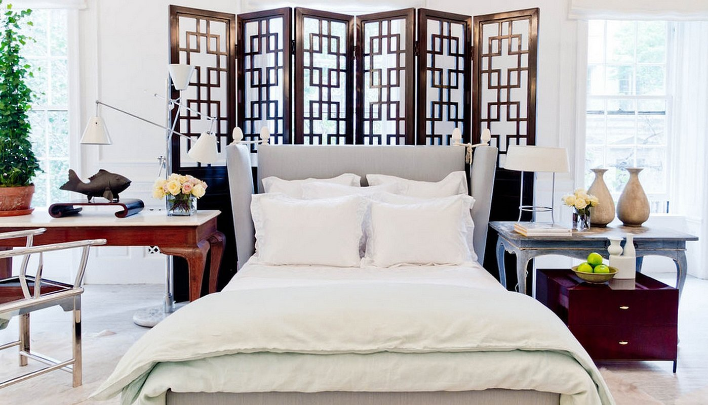 Ширма в интерьере спальни и гостиной