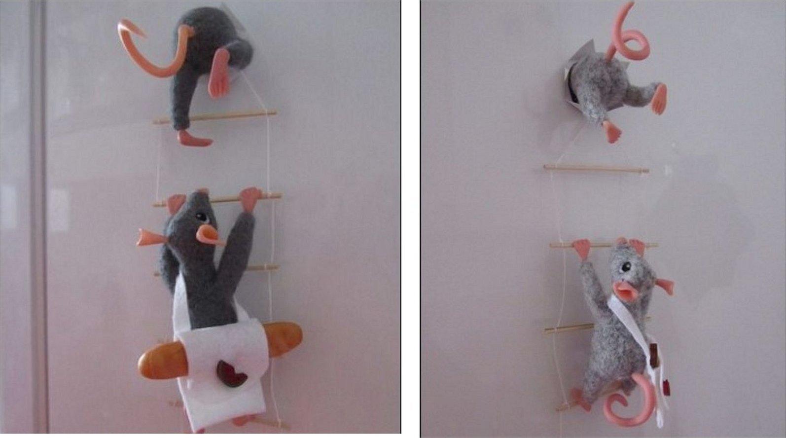 Вязаные мышки магнитики на холодильник