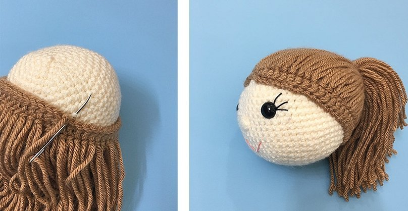 Волосы из ниток для вязаной куклы амигуруми