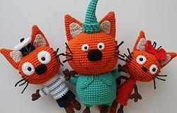 Три кота крючком: мягкие вязаные игрушки, схема вязания всех героев
