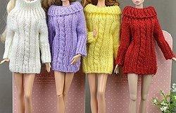 Вязаная одежда для кукол барби крючком и спицами: схемы с описанием