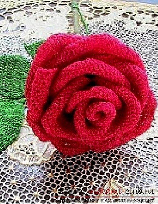 Вязаные цветы крючком розы