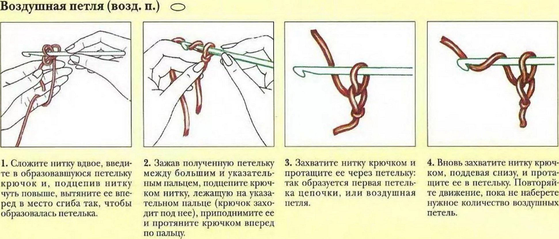 Двойная цепочка из воздушных петель крючком