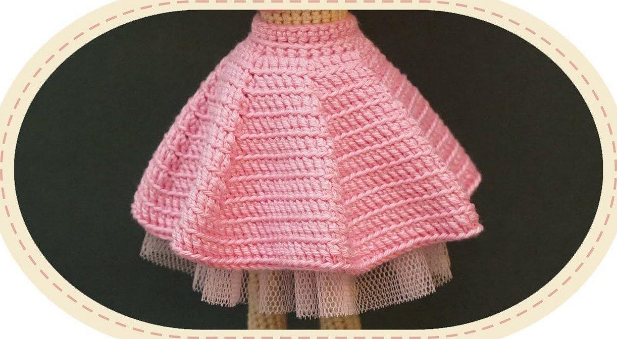 Пышная юбка вязаная крючком для куклы