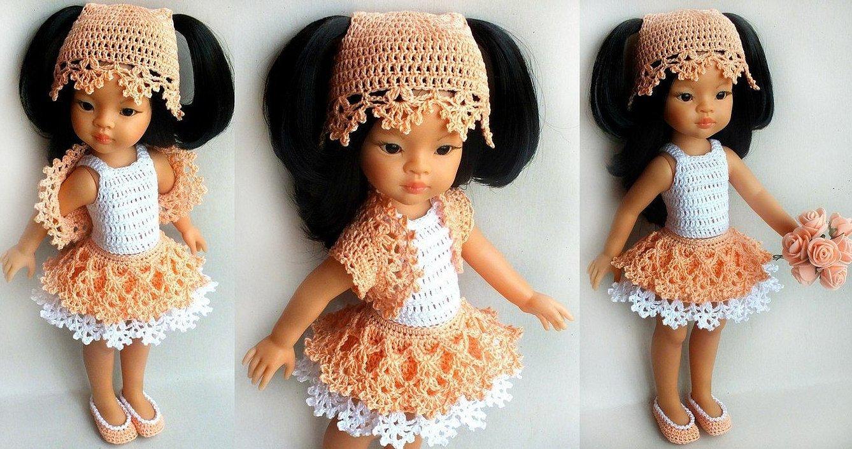 Платье для куклы паола рейна крючком