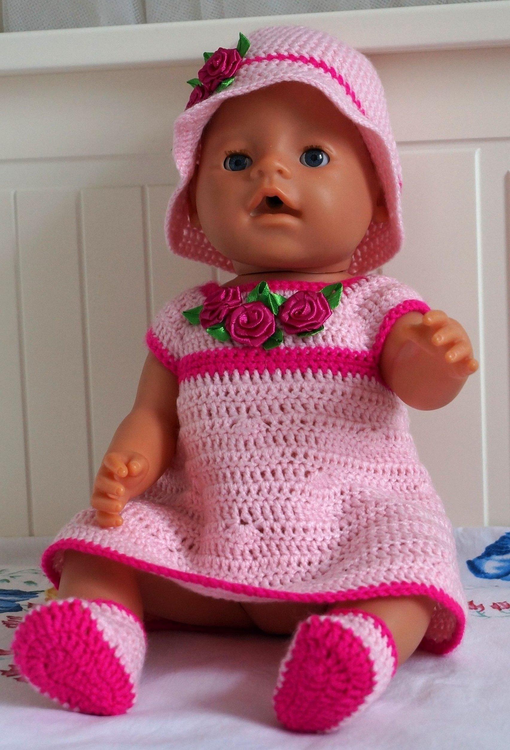 Платье крючком для куклы беби борн