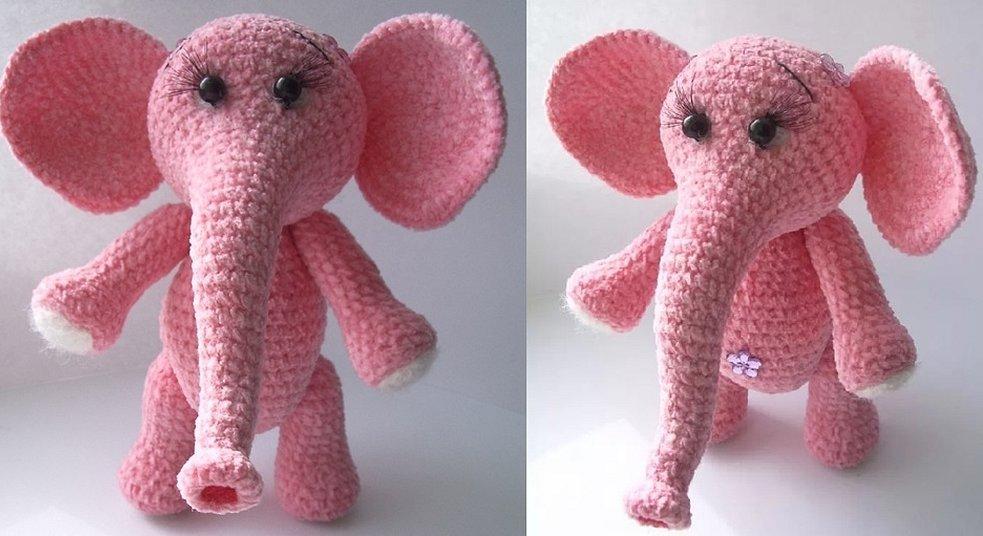 Вязаные игрушки розовый слоник