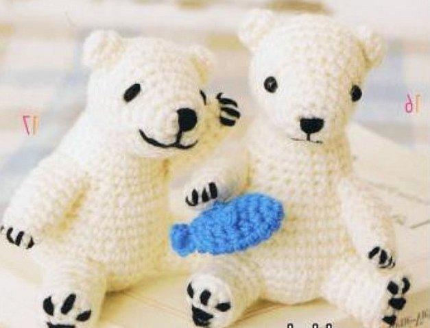 Вязаные игрушки амигуруми белый мишка